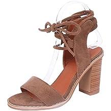 Gamuza Vendaje Sandalias Talón de Madera Zapato Cordones Romanas Talón Grueso Zapatos de Tacón Alto Verano Zapatillas Mujer