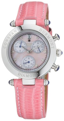 Constantin Durmont Women's Quartz Watch Visage Diamond Pink VisPK-D with Leather Strap