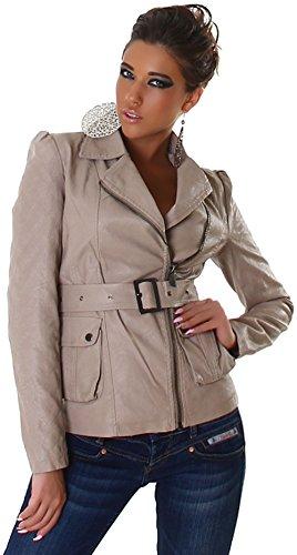 Voyelles Damen Jacke in Leder-Optik mit Gürtel, beige Größe 34 36