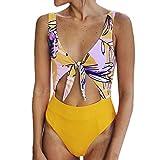 Yvelands Damen Bikini Set Jumpsuit Push-Up Gepolsterter BH Bikini Einteiler Bademode(CN-S,Gelb)