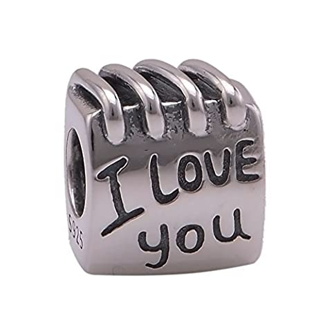 I Love You Coil Book 925 Sterling Silver Charm Beads Fits Pandora Charm Bracelet by The Kiss