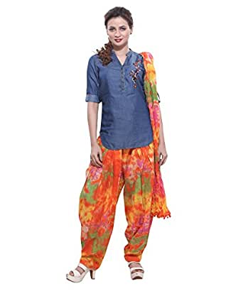Jublee Women's Printed Orange Patiala with Dupatta Set