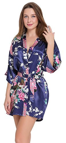Aibrou Damen Morgenmantel glatte Satin Nachtwäsche Bademantel mit Peacock und Blume Kimono Negligee Seidenrobe locker Schlafanzug Glanz Look kurz