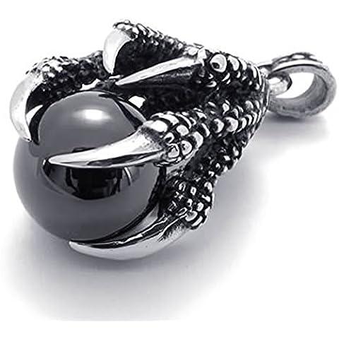 Andonger Dell'acciaio inossidabile dell'annata Mostro Claw Con Collana nera pendente della pietra preziosa per gli uomini
