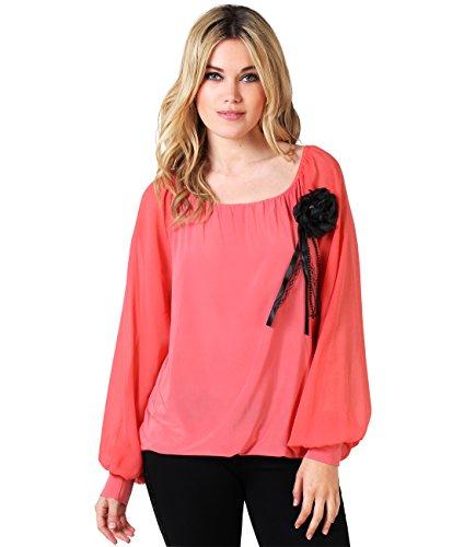 KRISP Damen Bluse mit Blumen-Anstecker_(6058-COR-08.3)