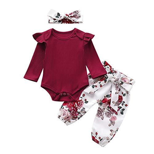 Baby Mädchen Langarm Red Romper Floral Hose Stirnband 3 Stück Kleinkind Baumwolle Outfits Set für 0-24 Monate (Blumen, 3-6 M)