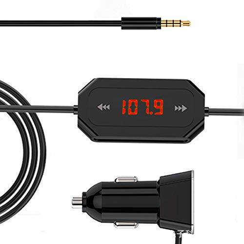 Wallfire FM Transmitter, 3.5MM FM Transmitter MP3-Player Radio Audio Adapter Car Kit mit Dual 4.8A USB-Anschlüssen für Smartphones, Tablets und andere 3,5-mm-Audiobuchsengeräte