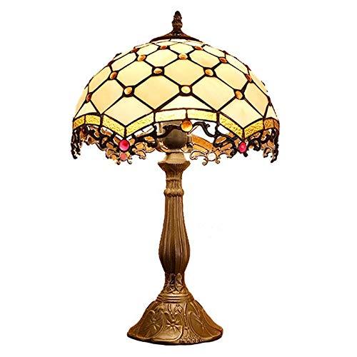 QCKDQ 12 Zoll Schreibtisch Licht, Tiffany Stil Tischlampe Mit Perle Und Online Schalter Glasmalerei, Schlafzimmer Nachttisch Schreibtisch Kleine Tischleuchte Dekorative E27