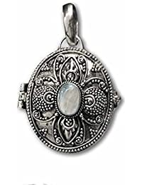 piedra de luna ovalada Gift colgante para abrir arco iris plata 925joyas etNox 116