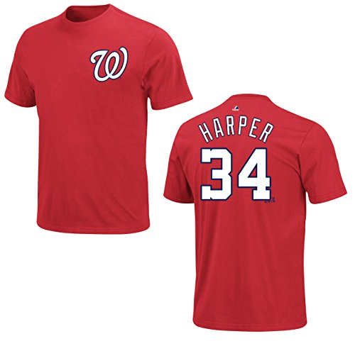 MLB Baseball T-Shirt WASHINGTON NATIONALS Bryce Harper #34 red in XXL (2XL)