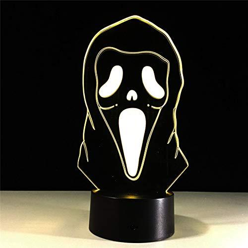 Hnfslz Illusion Lampe Der Halloween-Masken-3D Bunte Steigungs-Atmosphäre-Lampe Kinder Schlafzimmer Dekoration Beleuchtung 3D ()