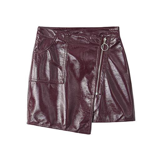 QBXDQ Kurzer Rock Pu Kurzer Rock Frauen Bodycon Schwarzer Minirock Kette Streetwear Hohe Taille Bleistift Rock, L -