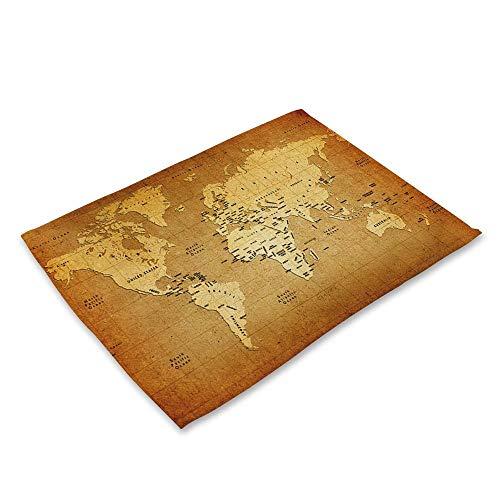NoblePlacemat Estilo Simple Mantel Individual,Mapamundi Serie de impresión de algodón y Lino...