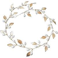 Rokoo Accesorios de pelo boda nupcial diadema imitación perla hojas diadema mujeres cabeza ornamento señoras pelos