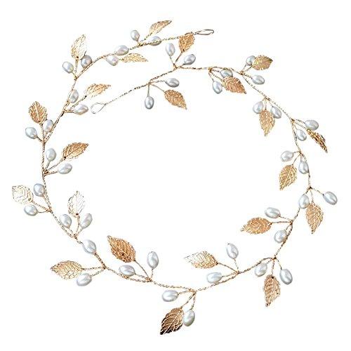 Rokoo Accesorios de pelo boda nupcial diadema imitación perla hojas diadema mujeres cabeza ornamento señoras pelos joyería