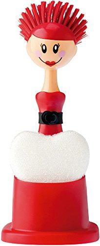 VIGAR Dolls Gigi Set Fregadero con Cepillo y Esponja, Rojo y Negro, Dimensiones: 11 x 10 x 24 cm