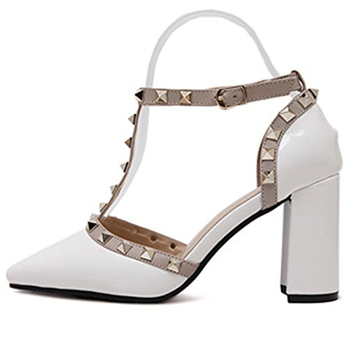 Oasap Women's Pointed Toe T-strap Rivet Chunky Heels Pumps White