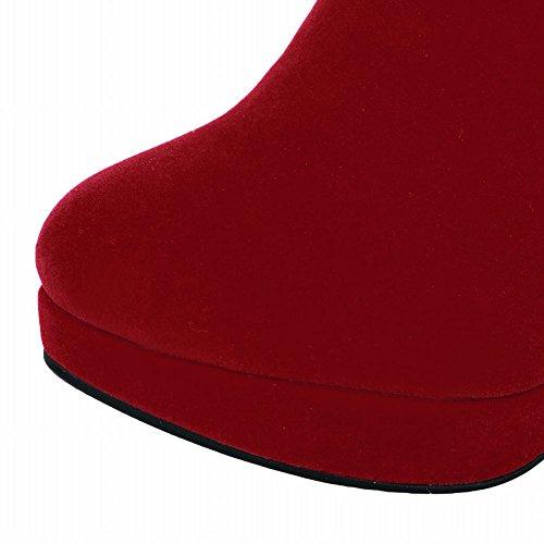 Meio Senhoras Faux Cabo Vermelho Camurça Botas De Sapatos Saltos Mee Altos I8x5qwxZ