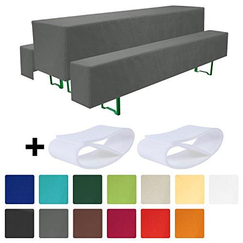 Beautissu® Comfort M gepolsterte Bierbank-Hussen & Tisch-Husse 5 tlg Set für 50cm breite Bierzeltgarnitur Anthrazit-Grau