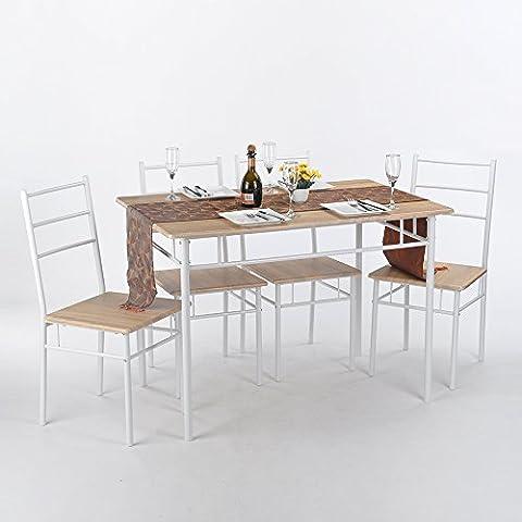 Coavas 5Pcs Mariposa Desayuno Cocina Mesa y sillas asiento juego de comedor de madera