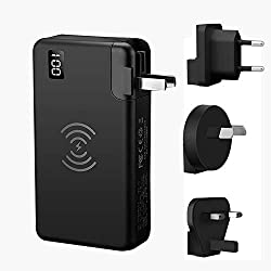FDGAO Batterie Externe 10000mAh, Chargeur sans Fil Rapide Chargeur à Induction, PD Power Bank Quick Charge 3.0 USB-C avec écran à LED et 4 Modèles Adaptateur pour iPhone, Samsung, iPad,MacBook etc