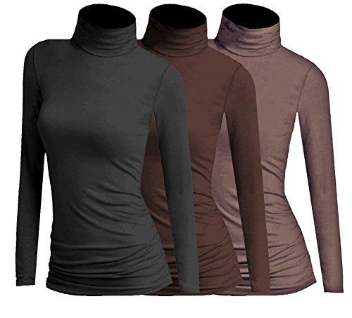 3x Damen Frauen Langarm Rollkragen - Rolli - Rollkragenshirt - Turtleneck T Shirt - 3er Pack - Basic TShirt Tops - 3 in 1 (Schwarz + Braun + Kaffee)