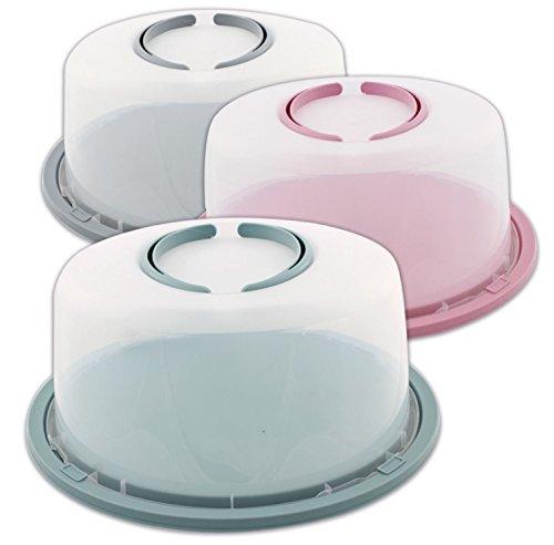 Tortenbehälter Tortencontainer Kuchencontainer Ø 34/29 cm mit klappbaren Griffen Farbauswahl, Farbe:Rosa