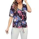 OSYARD Femme Chemisier imprimé, Manche Moyen T-Shirt Plus Size Tops Floral Blouse Femmes T-Shirt Décontracté à Manches Courtes en Mousseline de Soie à Manches Courtes pour