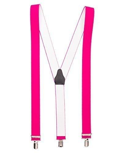 Neonpink hochwertiger Hosenträger mit 3 Clips Klips Y-Form Männer Damen Hose Jeans Fasching Oktoberfest Fassnacht Karneval neon pink