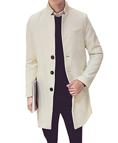 Uomo trench coat sottile caloroso lunga parka cappotto invernale di lana finto elegante giacca manica lunga beige m