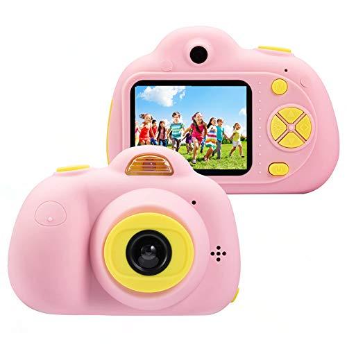 Cámara para niños ToyZoom Cámara de Fotos Digital 2 Objetivos Selfie 8MP Cámara Digital 1080P HD Videocámaras para Niños Niñas con Zoom Digital 4X, Flash Lights , 2' LCD, Batería Recargable (Rosa)