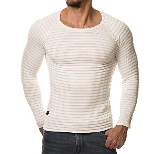 Herren Pullover Feinstrick Streifen Weiß Grau Schwarz BR1699, Größe:S, Farbe:Cremeweiß