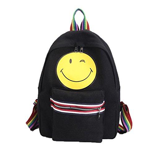 Imagen de goodsatar mujeres emoji lona paquete de ocio solo bolso del hombro sonriente cara  negro
