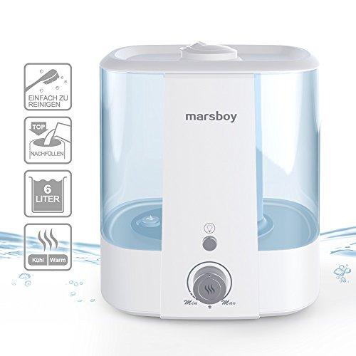 XXL Ultraschall Luftbefeuchter marsboy 6 Liter LED Raumbefeuchter Aromafach kalt/warm Nebel Zerstäuber einfache Bedienung und Reinigung Luft sehr leise Diffusor