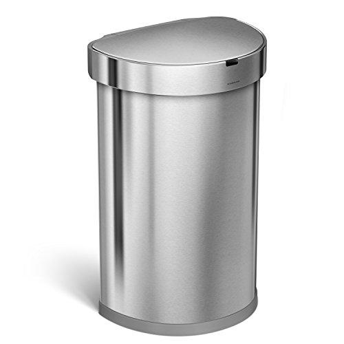 Automatische Mülleimer Simplehuman (Simplehuman - halbrunder Sensorabfalleimer - Mülleimer mit Beutelfach - 45 Liter - gebürsteter Edelstahl)