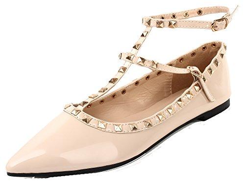 Ankle Strap Flat (AgeeMi Shoes Damen Niets Spitze Zehe Ankle Strap Ballerinas Flache Schuhe,EuD23 Aprikosen Farbe 39)
