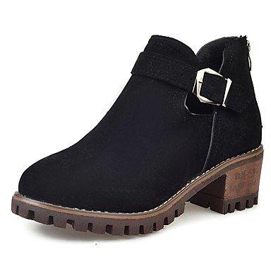 Rtry Femmes Chaussures Cachemire Chute Bottes De Combat Bottes Chunky Talon Bout Rond Zip Pour Casual Armée Vert Noir Us6 / Eu36 / Uk4 / Cn36