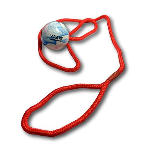 WEPO® Hundespielzeug/Hundeball mit 50 cm Schnur - Schleuderball/Naturkautschuk-Ball - Hundespiel-Ball/Kauspielzeug - Welpenspielzeug - Wepo Hundespielzeug