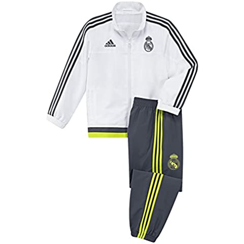 adidas Real PR Suit I - Chándal unisex, color blanco / gris / negro / amarillo, talla 116