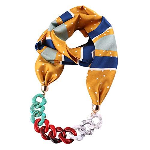 Dorical Damen Schal Halsketten, Schal Perlen Halstuch mit Schmuck/Halskette Modeschmuck Anhänger Schals & Tücher Jahrgang böhmischen Stil mit Schnalle Kette Quasten Schal Halskette(E,One size)
