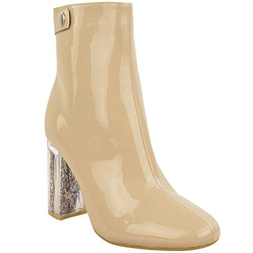Nuovo Donna Stivali Caviglia Donna Glitter Perspex Tacco Largo Alto Scarpe Alla Moda Numero Color Carne Vernice