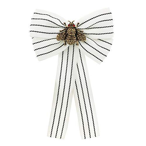 Sweet Deluxe Brosche Schleife Biene, antikgold/weiß/Topaz I ausgefallene Blusenbrosche für Damen & Mädchen I Frauen-Brosche für Abendkleid & Bluse I Anstecknadel