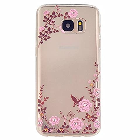 MUTOUREN Samsung Galaxy S7 Edge case cover Soft Silicone Bumper Ultra Thin Slim Flexible Cover Case ,High Quality TPU with Colorful Cute Printed Pattern Fashion Design Protective Back Rubber Case Cover Shell Perfect Fitted Edge- pink flower butterflies garden style