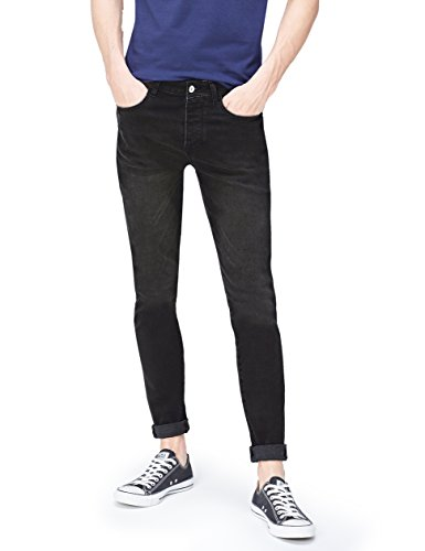 FIND Cropped Skinny Washed Black, Jeans para Hombre, Negro, W33/L32