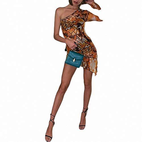 FeiXing158 Sexy Frauen Langarm Single Bodycon Kleid Print Abend Party Short Minikleid asymmetrischen Saum Frauen Print Reversible Belt