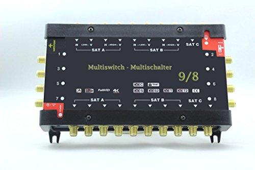 Digital Multischalter 9 / 8 9/8 mit Netzteil 8 Teilnehmer HQ HDTV 3D sky Multiswitch + Extra Anschluss Digiturk