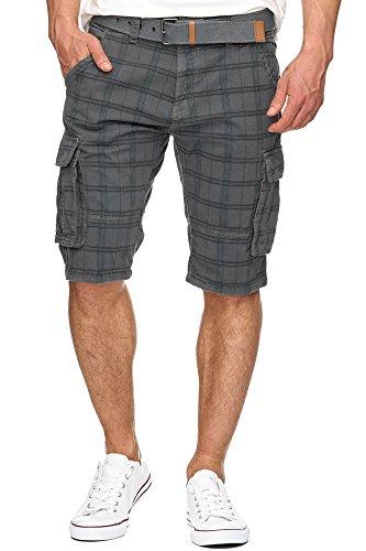 Indicode Herren Monroe Check Karierte Cargo Shorts Bermuda Kurze Hose inkl. Gürtel Raven XL