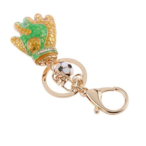 Preisvergleich Produktbild Strass Kristall Fußball Torwarthandschuh Anhänger Schlüsselring Schlüsselanhänger - Gold, Grün, 115mm