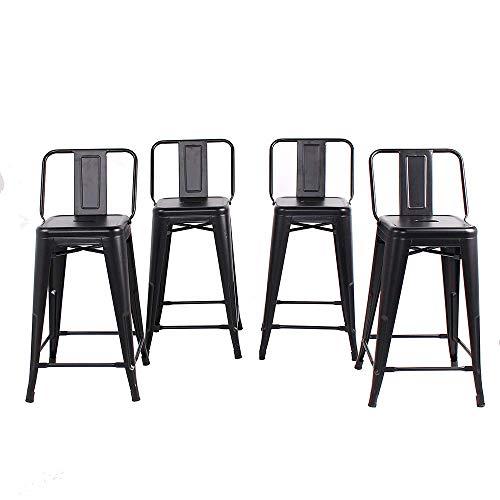 FUBON Set of 4 Matte Black 24 Inch Counter Height Metal Bar Stools with Medium Back, Indoor/Outdoor