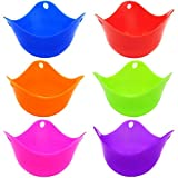 Egg Poacher - Cooking Perfect Poached Eggs Colorful Extra Thick Silicone Egg Poacher Molds-Set of 6